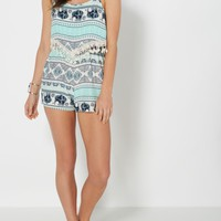 Mint Folklore Popover Romper   Jumpsuits & Rompers   rue21
