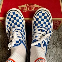 Vans classic checkerboard pattern stitching shoes fashion men's and women's low-top canvas shoes