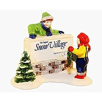 Christmas KIDS DECORATING THE VILLAGE SIGN #5134-9 THE ORIGINAL SNOW VILLAGE Department 56 Sign from 1989 (3 1/4 Inches Tall)