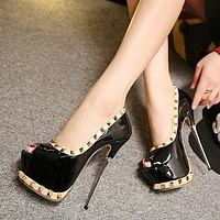 Fashion rivets fish mouth high heels