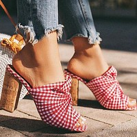 Fashion ladies'sandals with open toes, plaid, wood grain, thick and super high heels