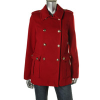 Style & Co. Womens Double-Breasted Epaulettes Military Jacket