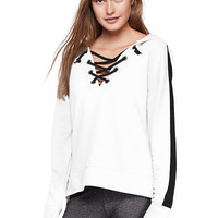 Slouchy Lace-Up Pullover - PINK - Victoria's Secret