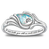 I Am With You Diamond and Created Opal Sterling Silver Ring - FindGift.com