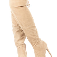 Taupe Faux Suede Pointed Toe Thigh High Boots