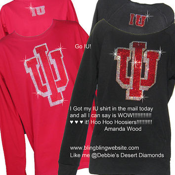 Rhinestone custom shirts with your detailed logo on our shirts with huge IU logo front small on back