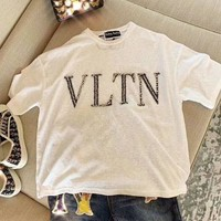 Valentino Summer Hot Sale Women Casual Letter Diamond T-Shirt Top White