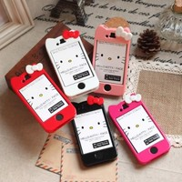 Newest iPhone 4/4S Hello Kitty Face Hard Case/Cover/Protector(Black Case with Pink Bow)-by Kaleidoscope
