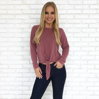 Knot The One Sweater Top in Plum