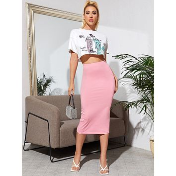 SHEIN Figure and Butterfly Print Tee and Pencil Skirt Set