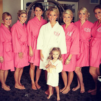 Bridesmaids Robe Monogrammed waffle weave personalized embroidered