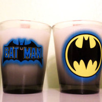 DC Original Comics. Scented 4 piece Batman shot glass gift set.