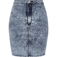 River Island Womens Mid acid wash mini tube skirt