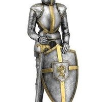 Medieval Knight Statue Wearing Armor with Lion Crest On Shield 13H