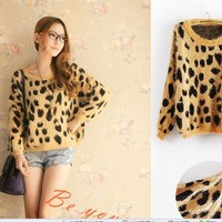 A252 round neck fashion wild female leopard pattern sweater from Fashion Accessories Store