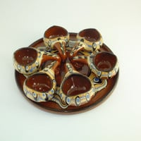 Vintage Brown Set of 6 Shot Glass and a Tray Shot Glasses Party Glasses Folk Art Pottery Shot Glass Alcohol Glasses