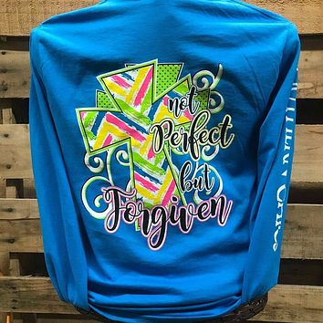 Southern Chics Not Perfect but Forgiven Cross Girlie Long Sleeve Bright T Shirt