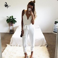 2016 New Sleeveless long pants Jumpsuit Woman white colot sling backless Hollow Out Bodysuit Jumpsuit