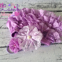 Lavender Lilac Flowers Baby Headband, Couture Newborn headband, Baby Head Band, Newborn Hair Band, Girl Props, Baby Accessories, Canada