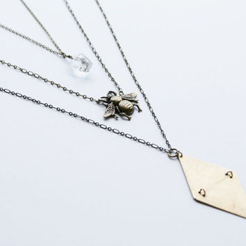 triangle bee quartz layer necklace, triangle necklace,  bee necklace, quartz necklace, geometric necklace