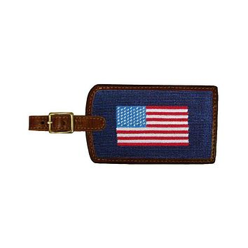 American Flag Needlepoint Luggage Tag by Smathers & Branson