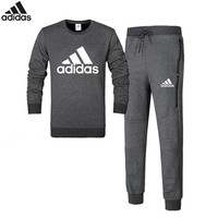Adidas autumn and winter cotton plus velvet hooded trousers sportswear two-piece suit Grey
