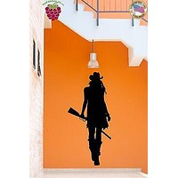 Wall Stickers Vinyl Decal Cowgirl Texas Wild West Rifle Gun Unique Gift (z1786)