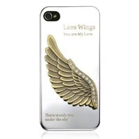 Wing Rhinestone Metal Mirror Phone Case For iPhone 4/4S