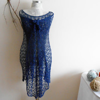 Hand-knitted Women's Tunic, Mercerized hand knitted tunic holes, Dark blue knitted tunic beach, Multi-purpose hand knitted tunic
