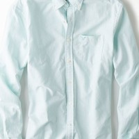 AEO Men's Striped Oxford Button Down Shirt (Seafoam)