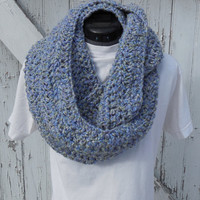 READY TO SHIP, Lavender Blues Crochet Loop Scarf, Infinity Scarf, Large Chunky Scarf, Fall Winter, Women's Accessory, Cowl