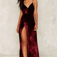 Open Back Champagne Slip Dress with Front Slit