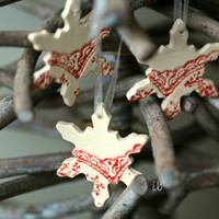 Snowflake Pottery Lace Decoration White Red Ceramic Ornament Set of 3 Wedding Gift