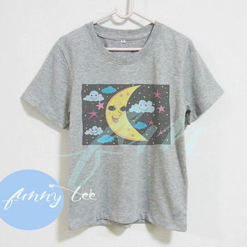 Moon shirt night blue cloud shirt Crew neck sweatshirt Short sleeve tee shirts+off white or grey toddlers shirt +kids girl boy clothes