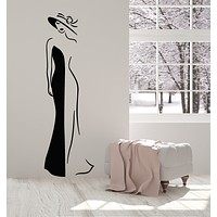 Vinyl Wall Decal Elegant Lady Ball Dress Figure Hat Clothing Store Stickers Mural (g959)