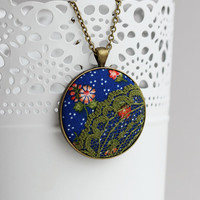 Floral Print Lace Boho Necklace, Moss Green Lace Necklace, Blue Polka Dots Flowers Red Cobalt Blue Pendant Hippie Jewelry