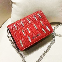 Miu Miu fashion lady solid color diamond float pattern single shoulder bag shopping bag Red