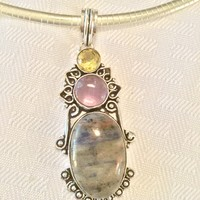 Sodalite, amethyst and Citrine sterling silver pendant