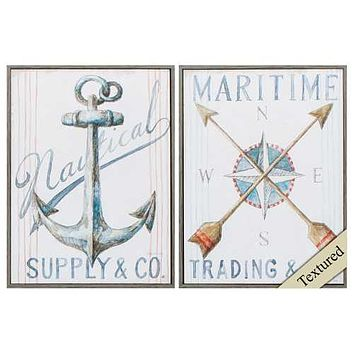 """Woodtoned Frame Anchor Compass (Set of 2) 12"""" X 16"""""""
