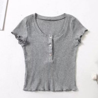 Spring clothing new style slim - fitting front of the front of the front fastening wooden ear side short - sleeve T-shirt