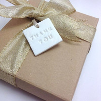 Thank You Tags, Wedding Favor Tags, Favours, Clay Tags, Pack of 10 or 25, Wedding Decor