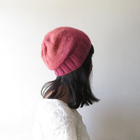 Ombre Slouchy Hat, Pink Coral Slouchy Beanie, Women Hand Knit Hat, Wool Blend, Seamless Winter Beanie, Gift for Her, Made to Order
