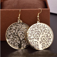 """Gold Color Tree of Life Hook Earrings 1.5"""""""