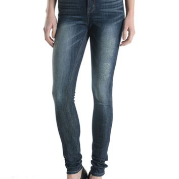 High Rise Whisker Washed Skinny Jeans by Just USA Jeans