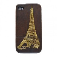 Real Genuine Golden Eiffel Tower ebony Wood Wooden Hard Case Cover for Iphone4/4s