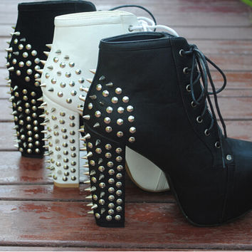 Punk Style Chunky Heel and Rivet Boots