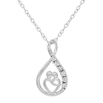 Sterling Silver Mother and Child Diamond Infinity Heart Pendant-Necklace on an 18 inch Chain