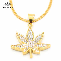 Iced Out Weed Leaf Pendant Necklace w/Cuban Chain