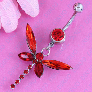 Red Dragonfly Belly Button Ring - 316L Stainless Steel