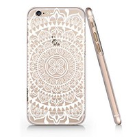 White Mandala Pattern Clear Transparent Plastic Phone Case for Iphone 6 6s